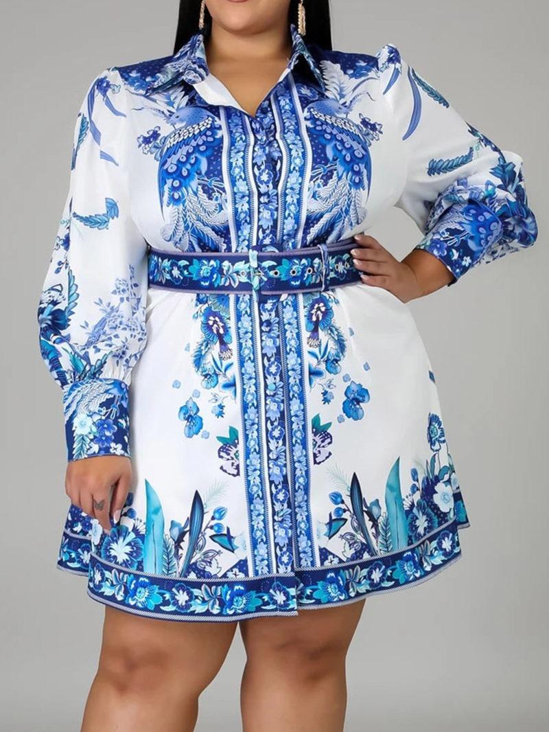 Ericdress Lapel Print Long Sleeve High Waist Floral Women's Dress