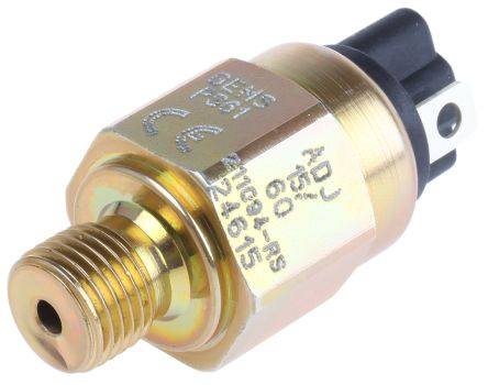 Gems Sensors Hydraulic Pressure Switch, SPST-NC 15 → 60psi, 42 V dc, BSP 1/4 process connection