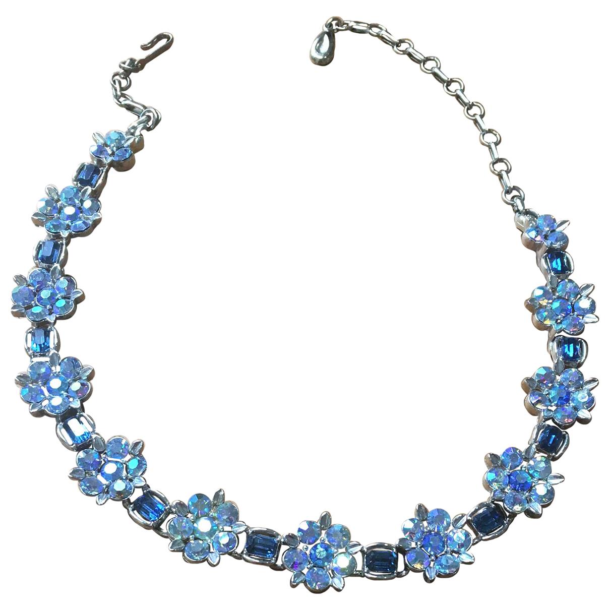- Collier Motifs Floraux pour femme en cristal - bleu