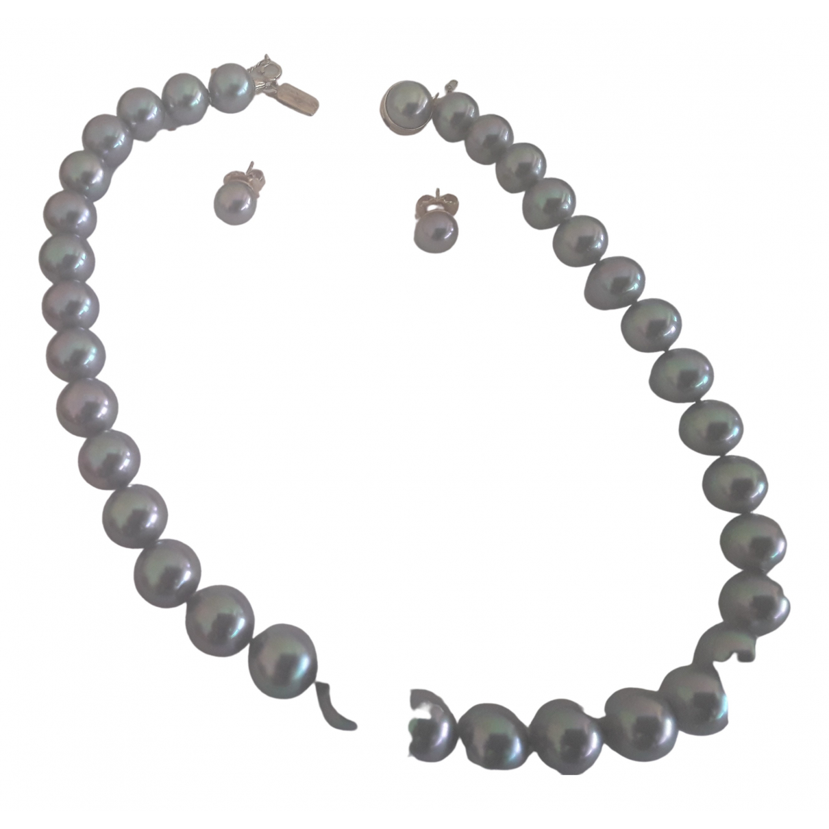 Non Signé / Unsigned \N Grey Pearls Jewellery set for Women \N