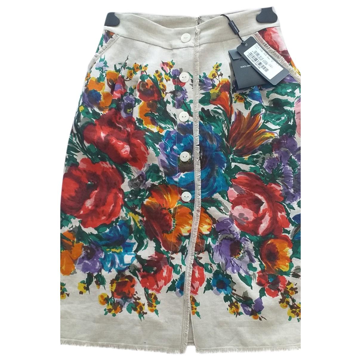 Dolce & Gabbana - Jupe   pour femme en lin - multicolore