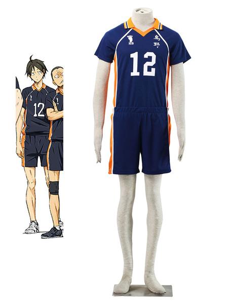 Milanoo Haikyu Tadashi Yamaguchi Cosplay Costume Karasuno High SchoolNO.12 Jersey