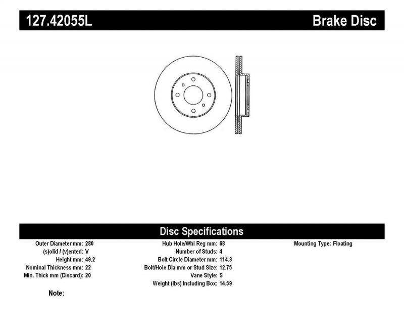 StopTech 127.42055L Sport Drilled/Slotted Brake Rotor; Front Left Front Left