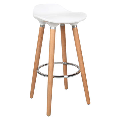 Contemporary Bar Stool with Beech Wood Legs, White - Moustache@ - 1/Pack