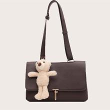 Toggle Lock Tote Bag With Bear Charm