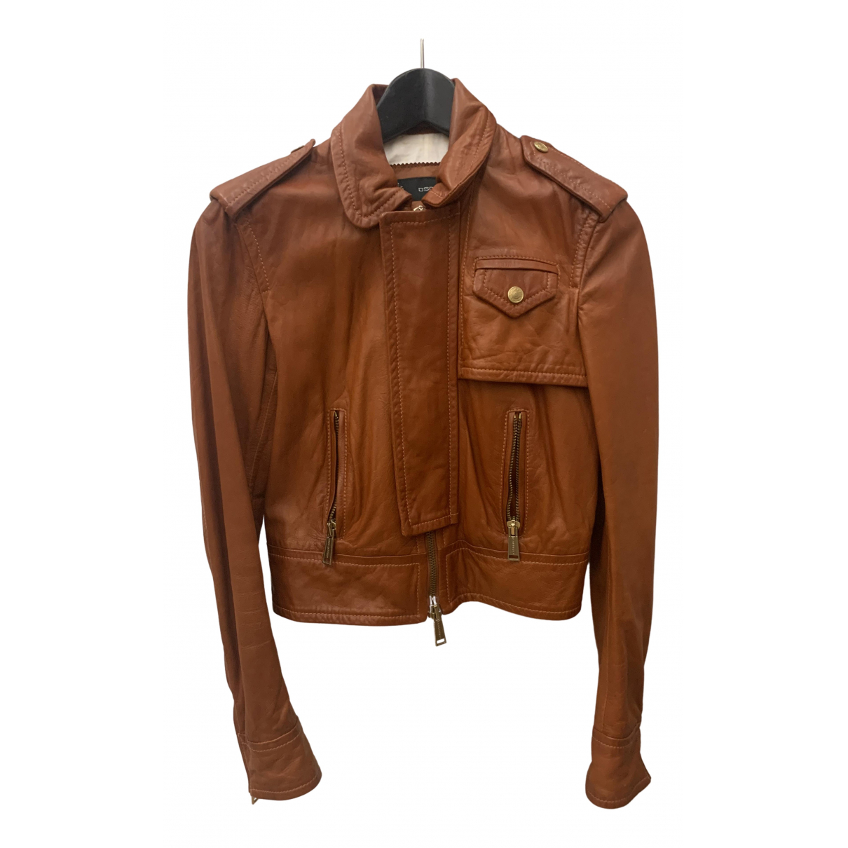 Dsquared2 \N Brown Leather Leather jacket for Women 40 IT