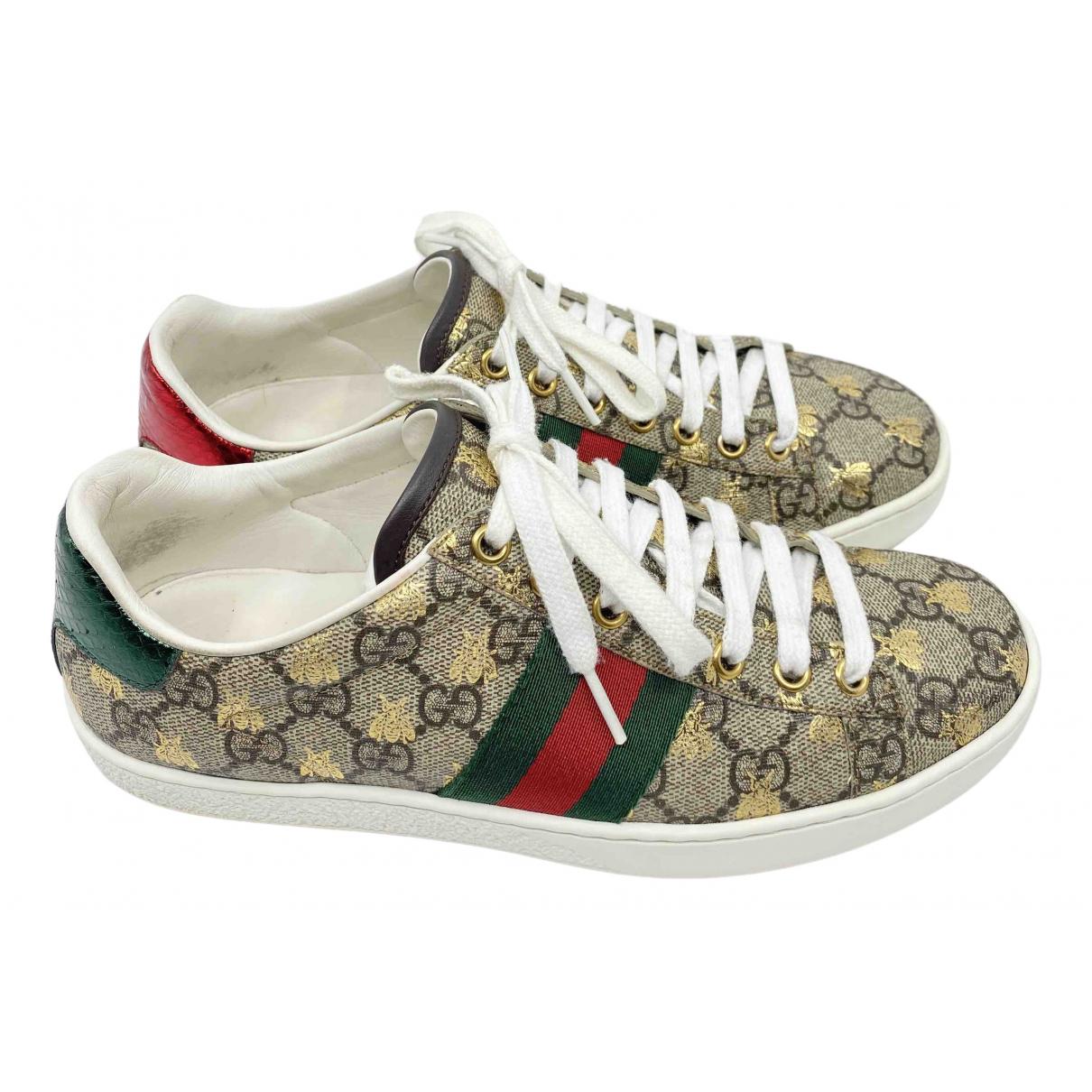 Gucci Ace Sneakers in  Beige Leinen