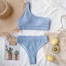 Rib One Shoulder Bikini Swimsuit