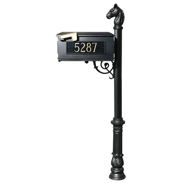 Lewiston Equine Mailbox with Post, Horsehead Finial, Ornate Base and Fleur-de-Lis Front Plate, Black with Gold Lettering