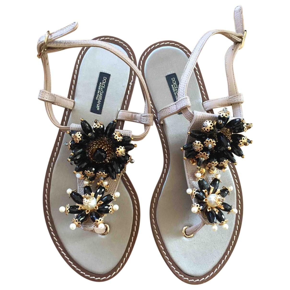 Dolce & Gabbana \N Beige Leather Sandals for Women 36 EU