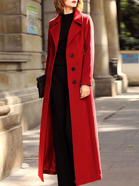 Milanoo Woman Coat Coffee Brown Turndown Collar Long Sleeves Buttons Knotted Casual Wrap Coat