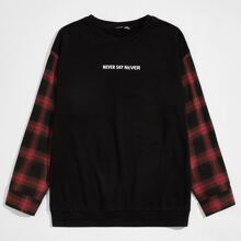 Men Plaid Sleeve Slogan Graphic Pullover
