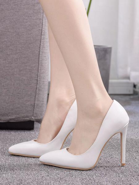 Milanoo Tacones altos blancos Mujeres punta estrecha tacon de aguja Slip On Pumps Zapatos de vestir de talla grande