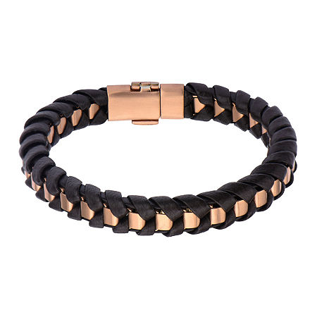 Inox Jewelry Mens Rose-Tone Stainless Steel & Black Leather Bracelet, One Size , No Color Family