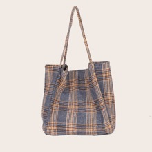 Plaid Canvas Shopper Bag