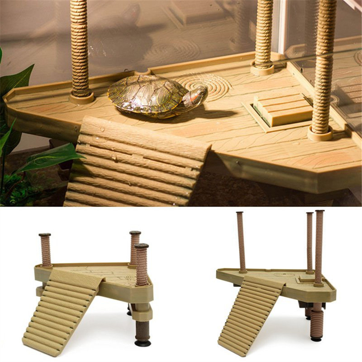 Reptile Turtle Frog Pier Floating Platform Basking Ramp Ladder Aquarium Decor