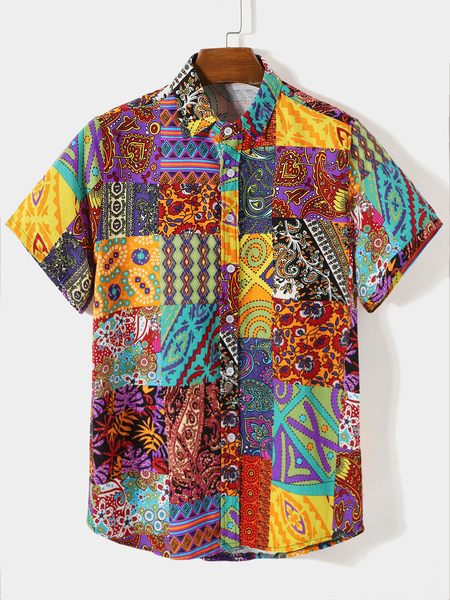 Yoins Men Summer Beach Holiday Tribal Paisley Print Shirt
