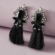 1pair Rhinestone Decor Tassel Decor Earrings