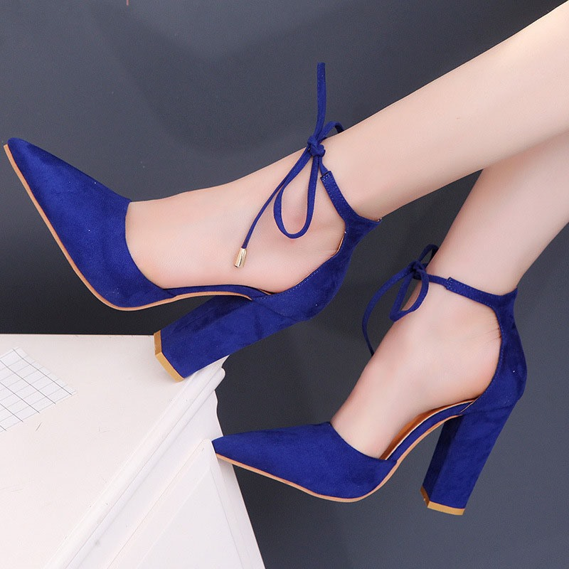 Ericdress Faux Suede Pointed Toe Lace-Up Heel Covering Women's Sandals
