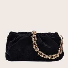 Velvet Chain Ruched Bag