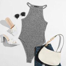 Rib-knit Halter Bodysuit