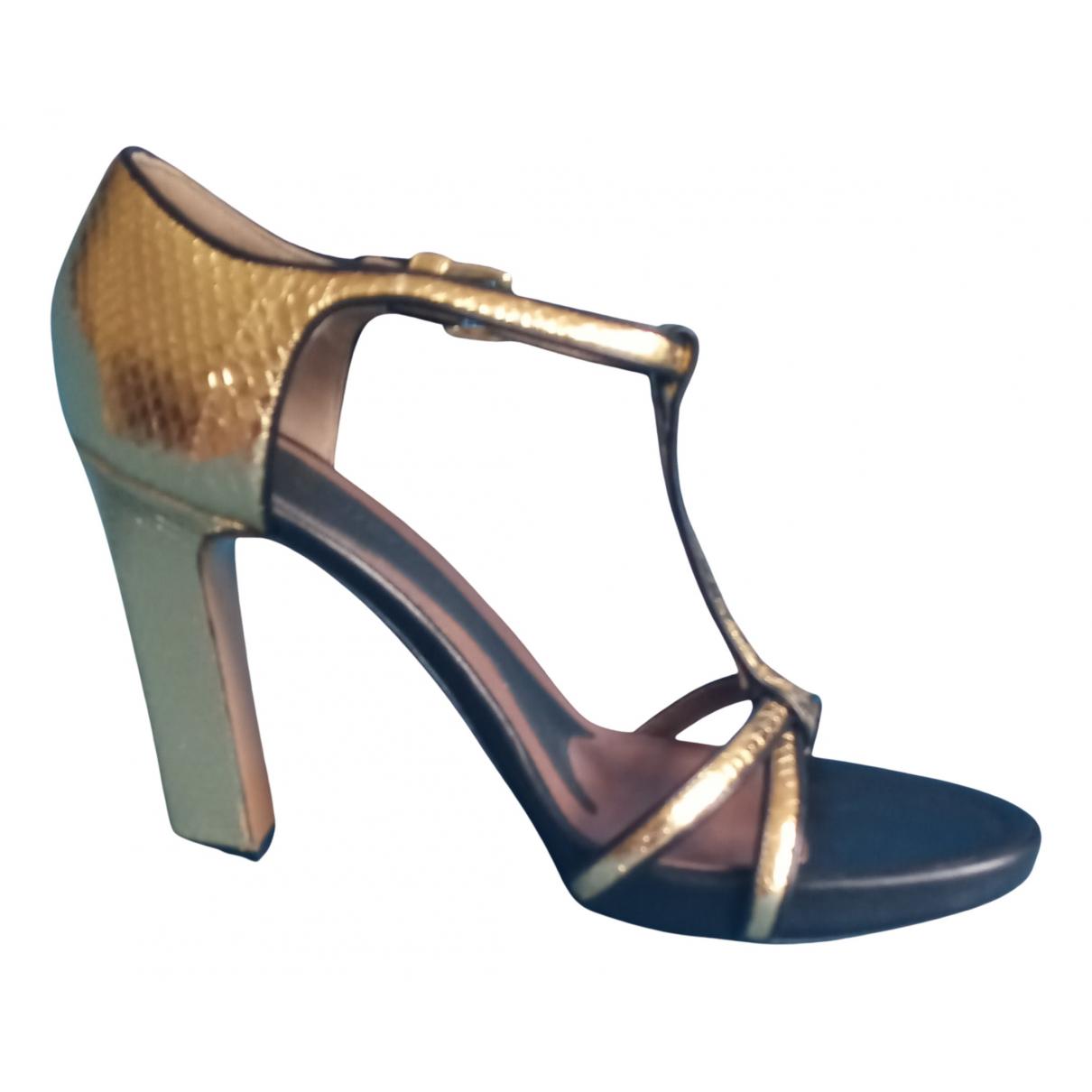 Marni - Sandales   pour femme en cuir - dore