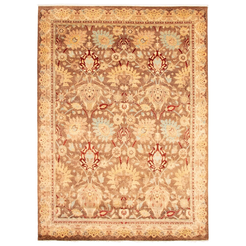 ECARPETGALLERY  Hand-knotted Pak Finest Brown Wool Rug - 8'11 x 12'3 (8'11 x 12'3 - Brown)