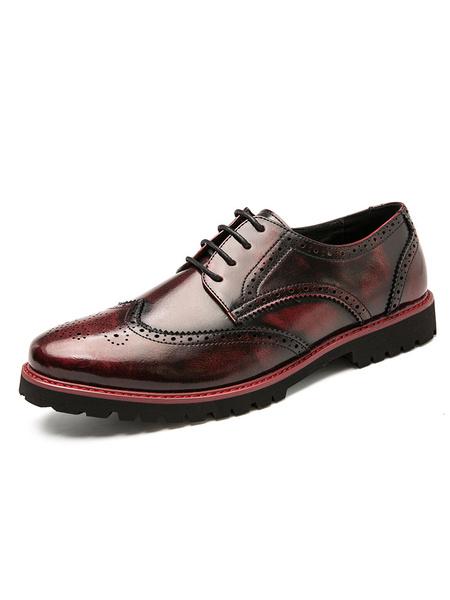 Milanoo Zapatos de vestir para hombre Punta redonda Correa marron Ombre Zapatos Oxford de cuero PU ajustables Zapatos de fiesta