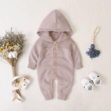 Baby Girl Raglan Sleeve Hooded Sweater Jumpsuit