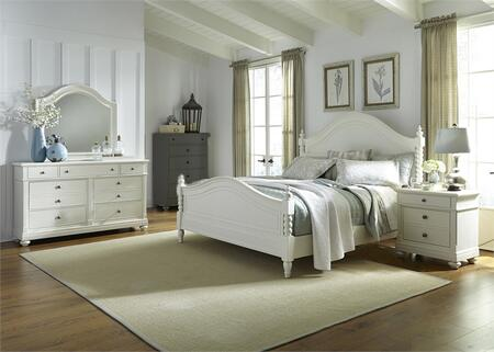 Harbor View II Collection 631-BR-KPSDMN 4-Piece Bedroom Set with King Poster Bed  Dresser  Mirror and Night Stand in Linen