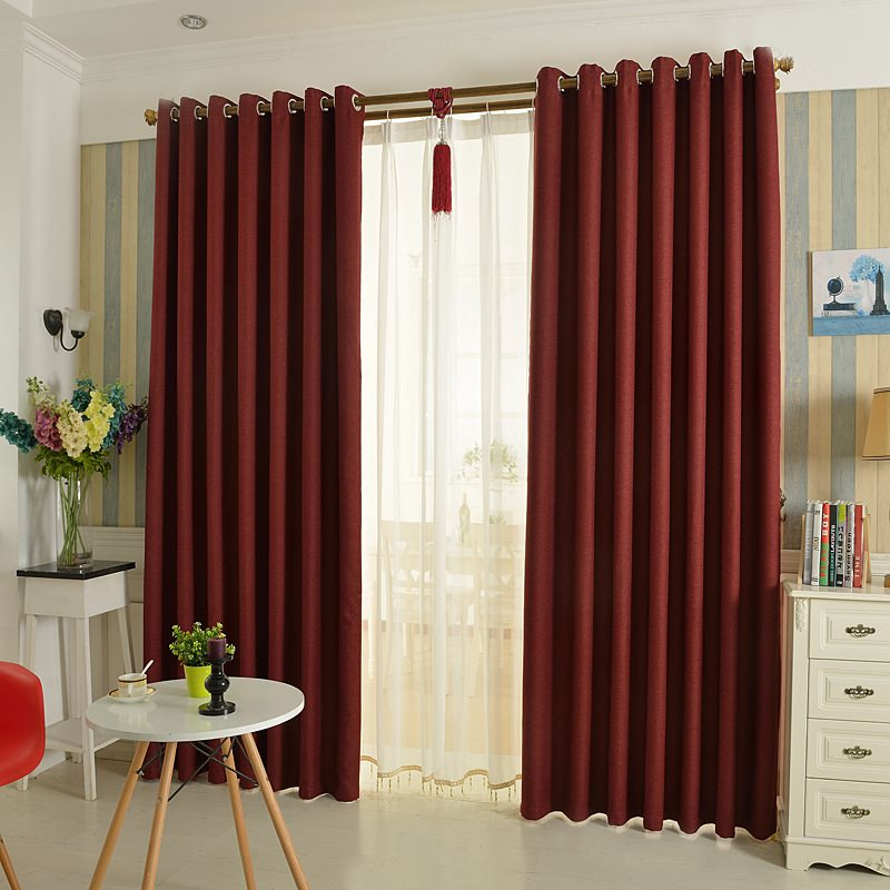 Modern Simple Burgundy Heat Insulation Blackout Drapes Custom Grommet Curtains for Living Room Bedroom No Pilling No Fading No off-lining