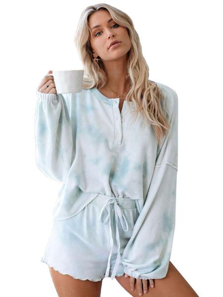 Milanoo Women\'s Loungewear 2-Piece Blue Long Sleeve 3D Print Polyester Cotton Outfit Home Wear