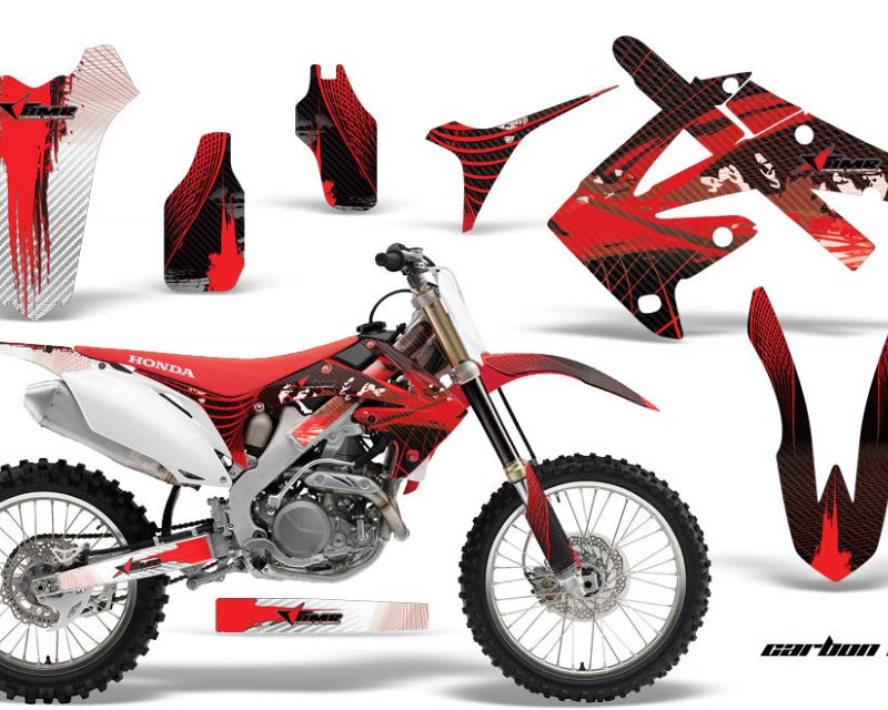 AMR Racing Dirt Bike Graphics Kit Decal Sticker Wrap For Honda CRF450R 2009-2012áCARBONX RED