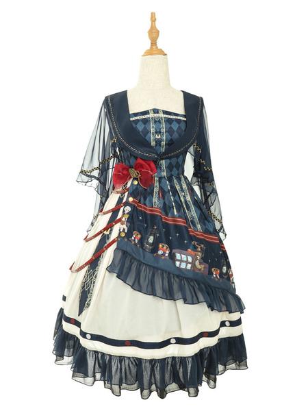 Milanoo Gothic Lolita JSK Dress MarionetteBows Lolita Jumper Skirts Cape