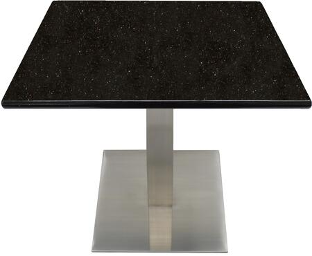 G206 36X36-SS05-23H 36x36 Black Galaxy Granite Tabletop with 23