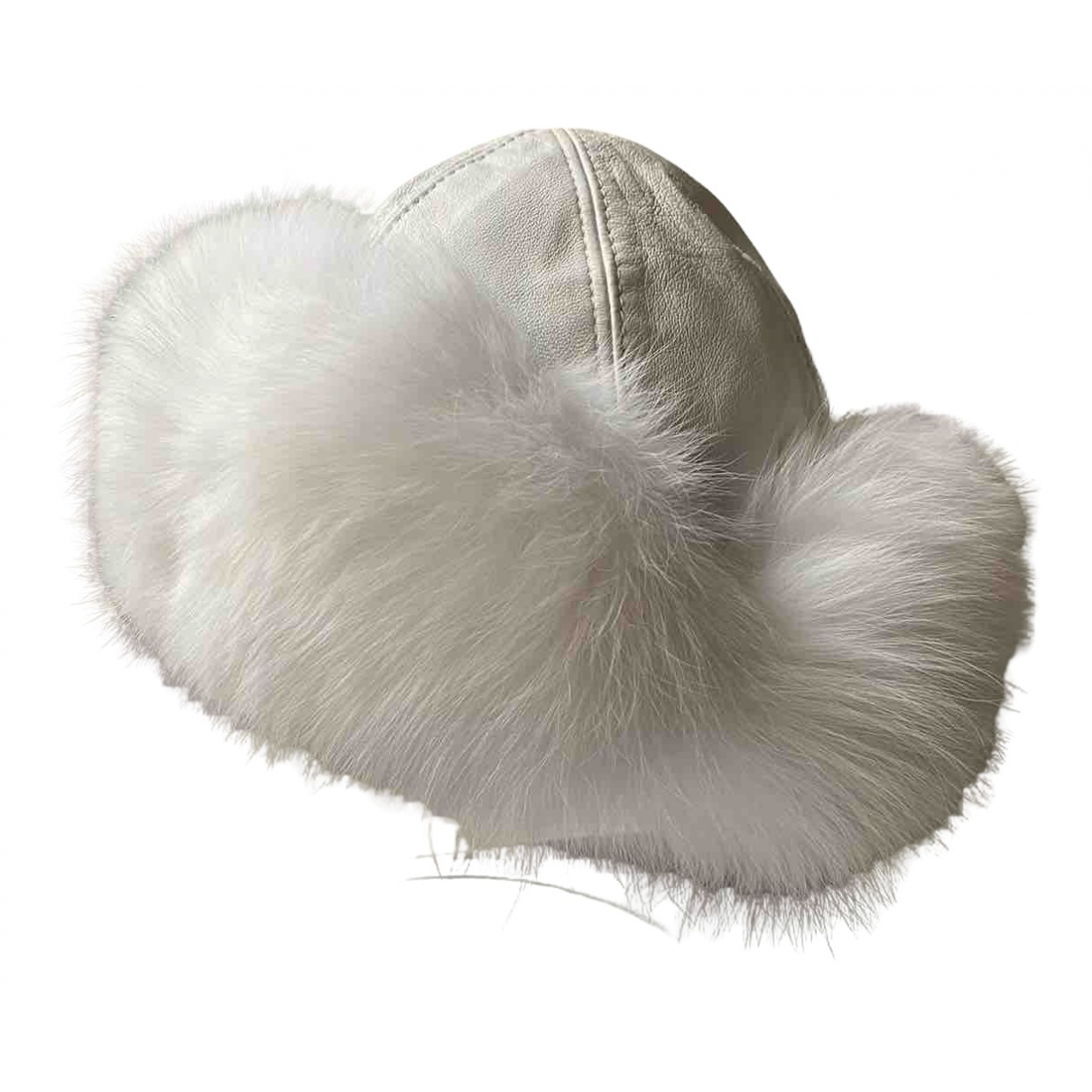 Non Signé / Unsigned N White Fox hat for Women 58 cm