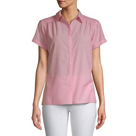 St. John's Bay-Tall Womens Short Sleeve Classic Fit Button-Down Shirt, Medium Tall , Red