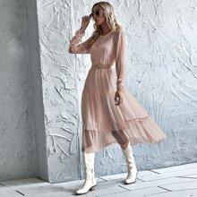 Cami Kleid & Kleid mit Punkten Muster, Rueschenbesatz ohne Guertel