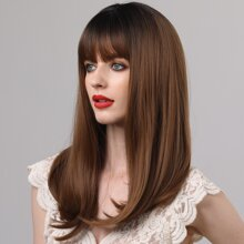 1pc Long Straight Wig With Bangs