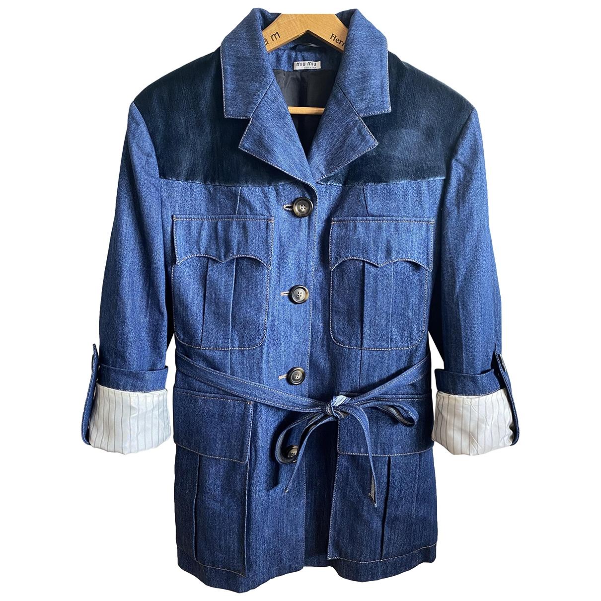 Miu Miu - Veste   pour femme en coton - bleu