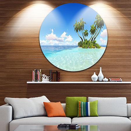 Design Art Corals Island under Blue Sky Ultra Vibrant Seascape Metal Circle Wall Art, One Size , Blue