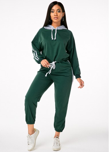 Green Hooded Collar Drawstring Sports Suit - L