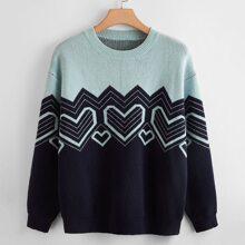 Pullover mit Herzen und Chevron Muster