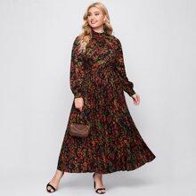 Vestido con estampado floral de cuello alto