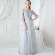 Flounce Sleeve Appliques Mesh Prom Dress