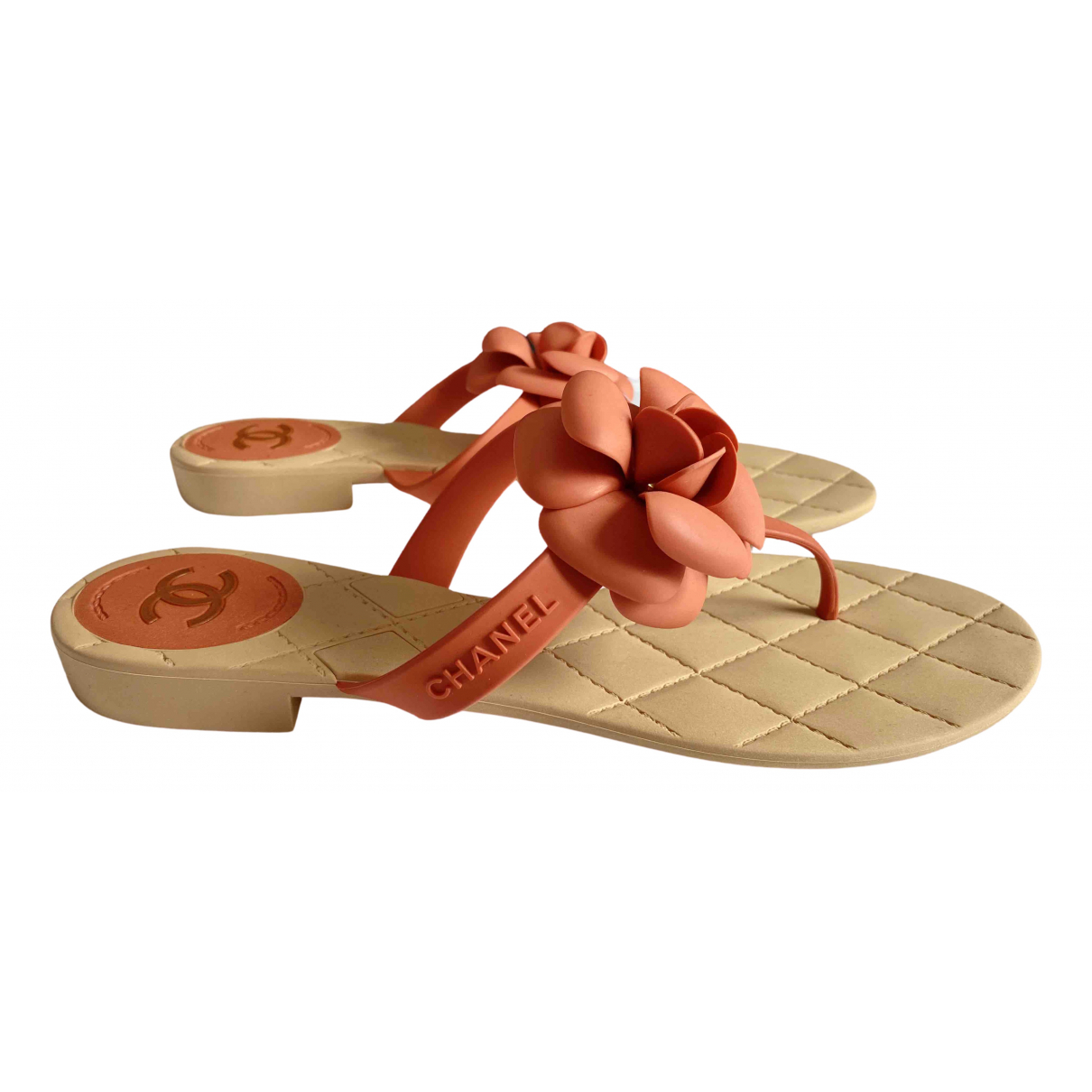 Chanel \N Orange Rubber Sandals for Women 42 EU