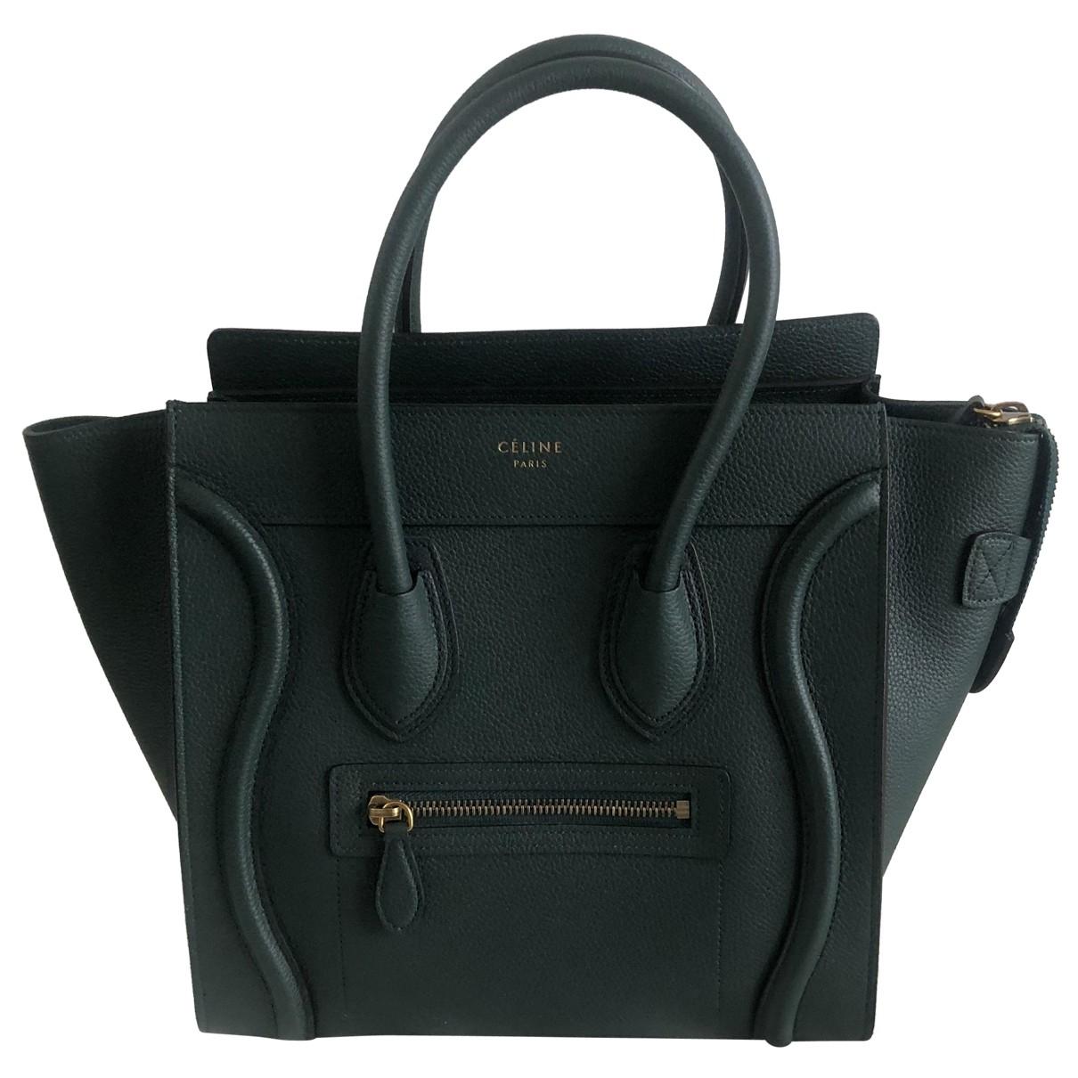 Celine - Sac a main Luggage pour femme en cuir - vert
