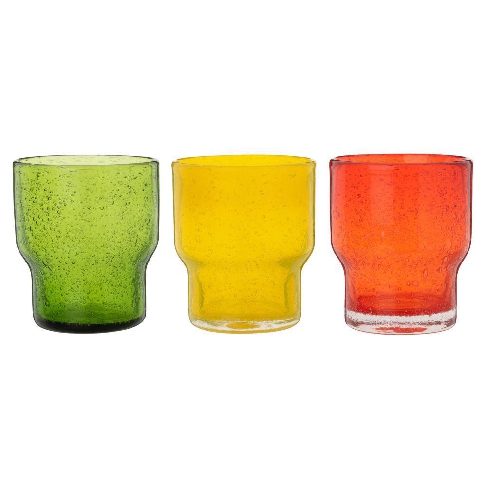 Becher aus gelb, gruen und orange getontem Blasenglas, stapelbar (x3)