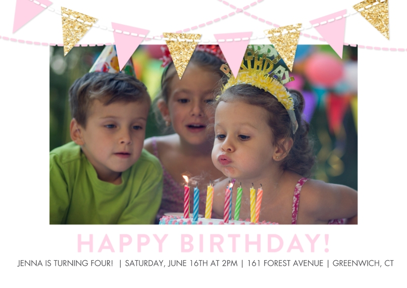 Kids Birthday Party Invites 5x7 Cards, Premium Cardstock 120lb with Rounded Corners, Card & Stationery -Birthday Flags Glitter Pink