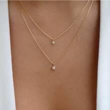 Rhinestone Decor Star Charm Layered Necklace
